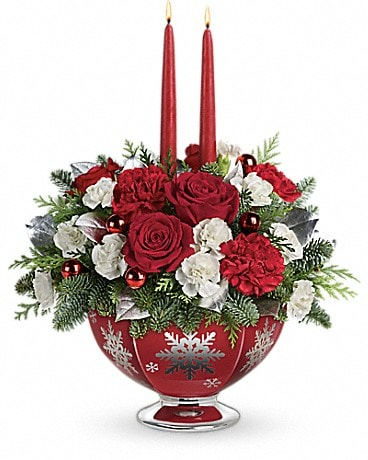 Teleflora's Silver And Joy Centerpiece Flower Arrangement