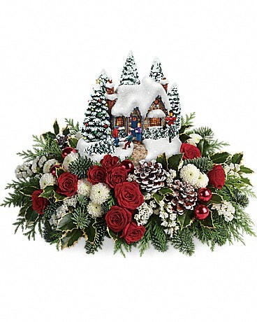 Thomas Kinkade's Country Christmas Homecoming Flower Arrangement