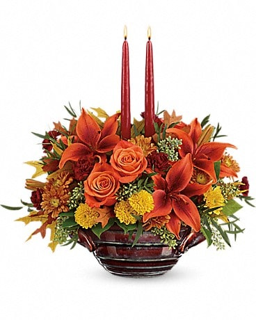 Teleflora's Rich And Wondrous Centerpiece Flower Arrangement