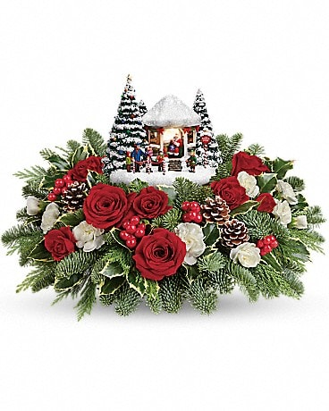 Thomas Kinkade's Jolly Santa 2016 Flower Arrangement