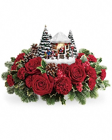 Thomas Kinkade's Visiting Santa Bouquet Flower Arrangement