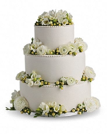 Freesia and Ranunculus Cake Decoration Specialty Arrangement