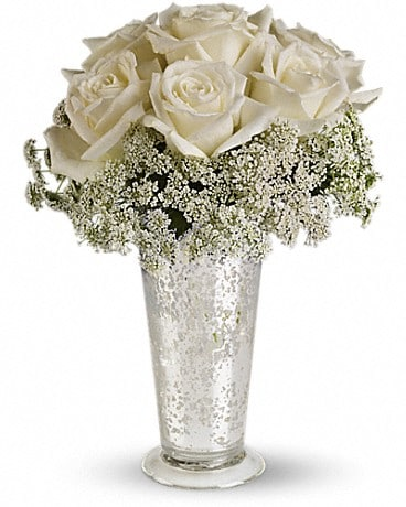 House of Flora's White Lace Centerpiece