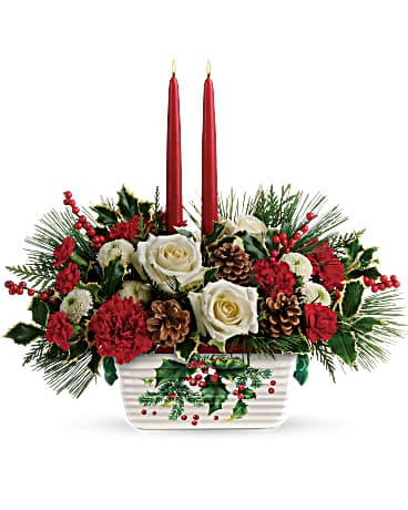 Halls Of Holly Centerpiece Flower Arrangement