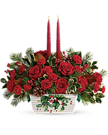Teleflora's Holly Glow Centerpiece T18X105A Bouquet