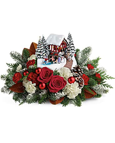 Thomas Kinkade's Snowfall Dreams 2018 Flower Arrangement