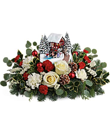 Thomas Kinkade's Christmas Bridge  T18X205A Flower Arrangement