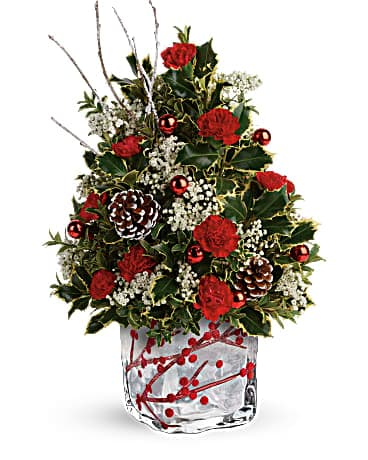 Teleflora's Festive Berries And Holly Tree Bouquet