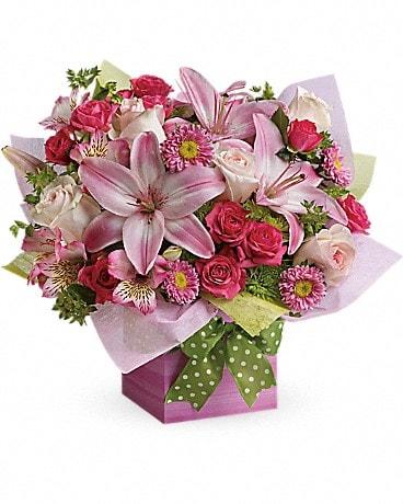 Teleflora S Pretty Pink Present In Paris Tn Paris Florist And Gifts
