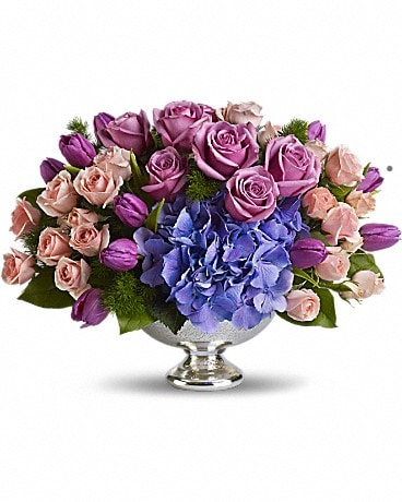 Teleflora's Purple Elegance Centerpiece Flower Arrangement
