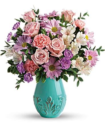Teleflora S Blushing Aqua Bouquet In Freeport Il Deininger