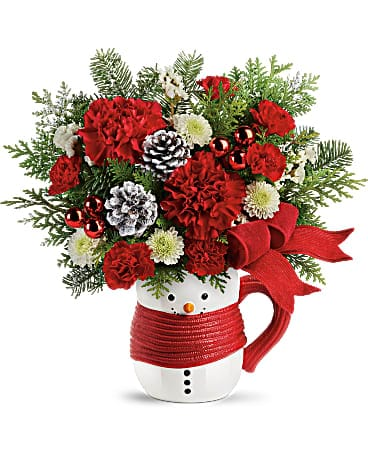Send a Hug® Snowman Mug Bouquet by Teleflora