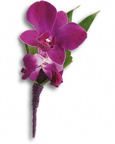 Perfect Purple Orchid Boutonniere Boutonniere