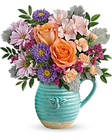 Teleflora's Busy Bee Pitcher Bouquet Bouquet