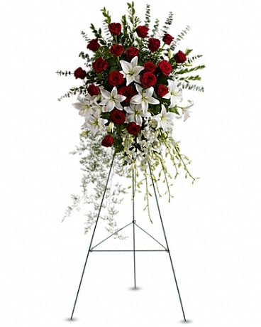 Lily and Rose Tribute Spray Sympathy Arrangement