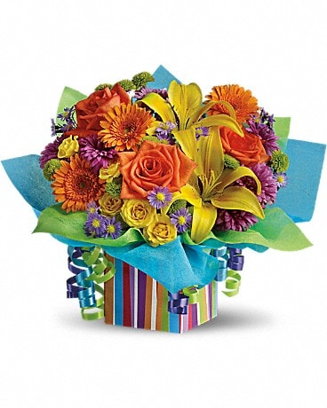 Teleflora's Rainbow Present Flower Arrangement