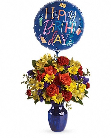 Fly Away Birthday Bouquet Includes Mylar Balloon Bouquet
