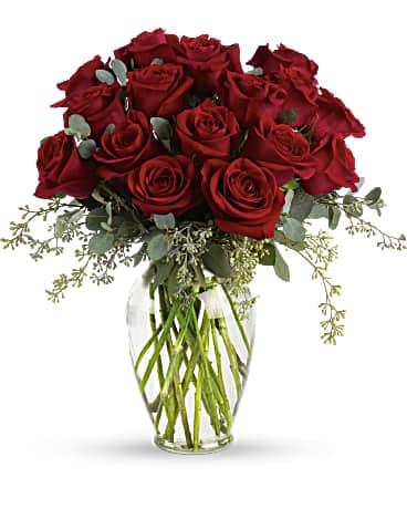 Forever Beloved-30 Long Stem Red Roses (T255-4A) Bouquet