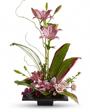 Imagination Blooms w/ Cymbidium Orchids (T256-1A) Flower Arrangement