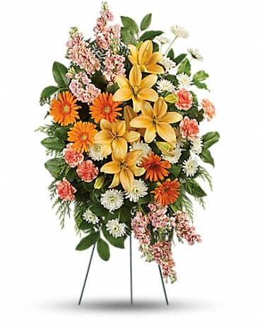 Treasured Lilies Spray Sympathy Arrangement