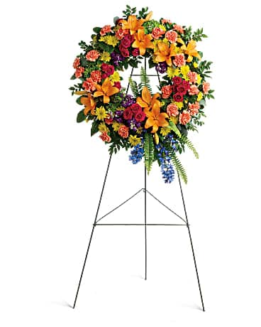 Colorful Serenity Wreath Sympathy Arrangement