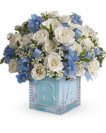 Baby's First Block by Teleflora - Blue(T34-2A) Bouquet