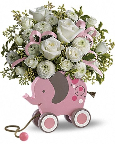 MiGi Baby Elephant by Teleflora - Pink Flower Arrangement
