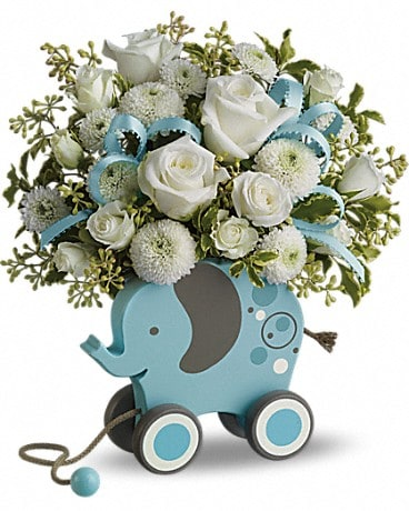 MiGi Baby Elephant by Teleflora - Blue Flower Arrangement