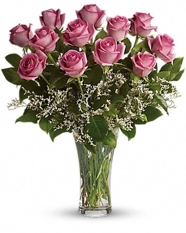 Make Me BluT4-1Ash - Dozen Long Stemmed Pink Roses Bouquet