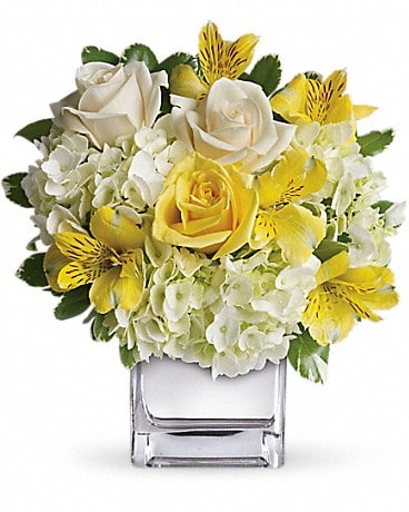 Sweetest Sunrise - Cube Flower Arrangement