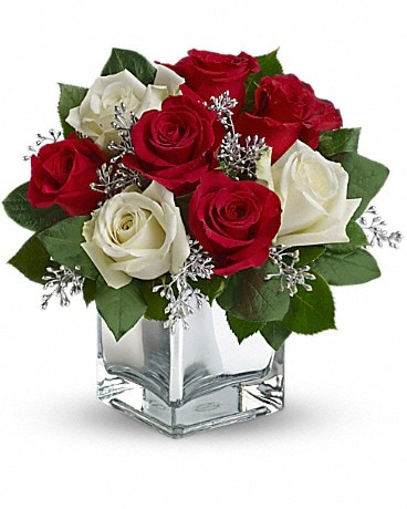 Snowy Night Roses Bouquet Flower Arrangement