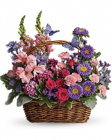 Country Basket Blooms T48-3A Basket Arrangement