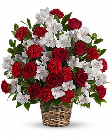 Beauty and Devotion Bouquet Basket Arrangement