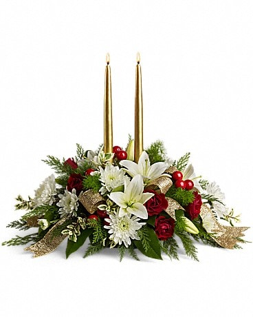 Golden Gathering Centerpiece Flower Arrangement