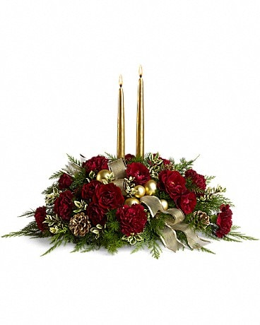 Crimson and Candlelight Flower Arrangement