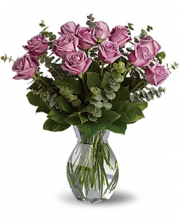 Lavender Wishes - Dozen Roses Bouquet