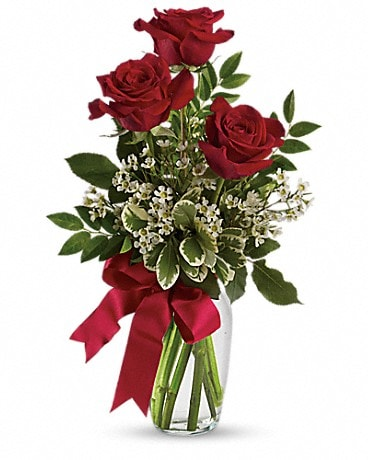 Thoughts of You Bouquet with Red Roses - ONE SIDED Bouquet