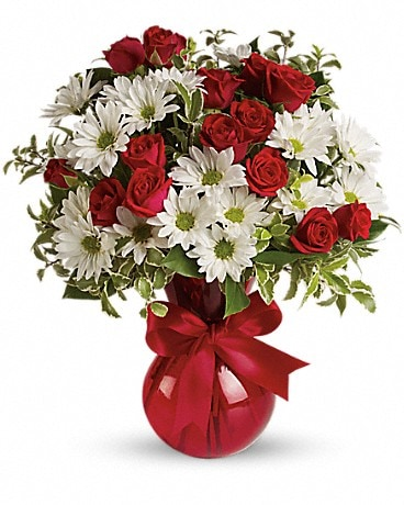 Red, White And You Bouquet by Lovebird Flowers