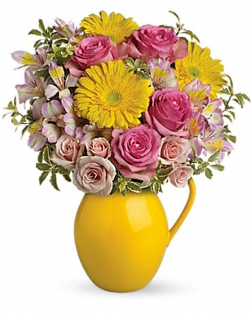 Sunny Day Pitcher Of Charm Flower Arrangement