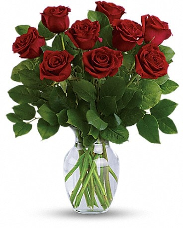 Classic Romance Bouquet - 9 Medium Red Roses Bouquet