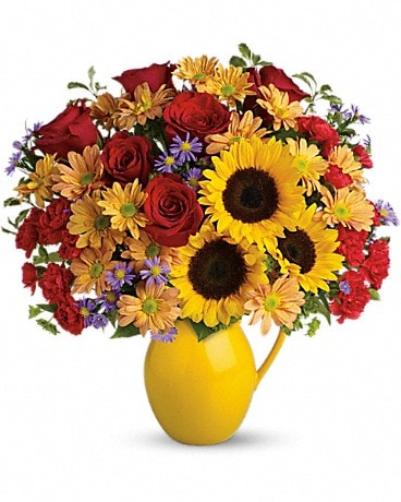 Teleflora's Sunny Day Pitcher of Joy Bouquet