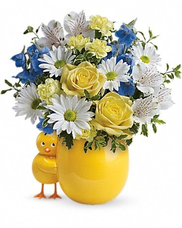 Teleflora's Sweet Peep Bouquet - Blue Bouquet