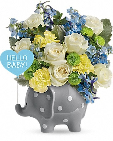 Teleflora's Hello Sweet Baby - Blue Bouquet