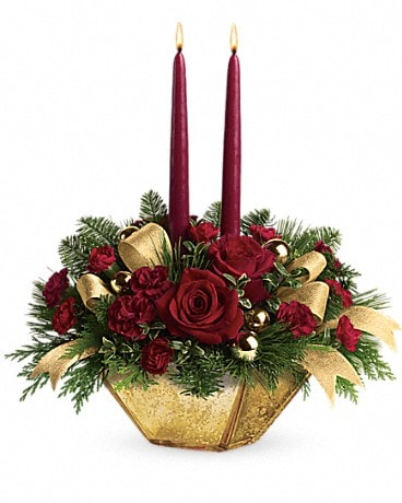 Teleflora's Crimson and Gold Centerpiece