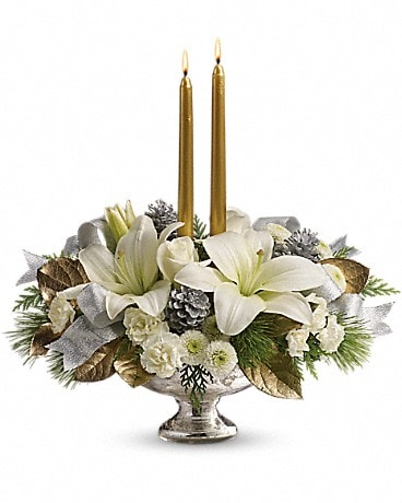 Silver And Gold Centerpiece Bouquet