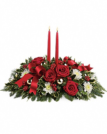 Holiday Shimmer Centerpiece Flower Arrangement