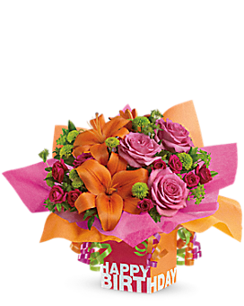 Teleflora's Rosy Birthday Present - Flower Arrangement