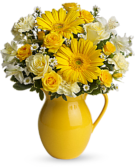 Teleflora's Sunny Day Pitcher of Cheer - Bouquet