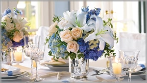 Colorful wedding flowers in new york starbright floral design blue flowers include lofty blue irises puffy hydrangea and striking blue delphinium ask for blue blossoms in a bridal bouquet as your something blue or mightylinksfo