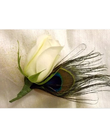 White Rose Boutonniere with Peacock Feather
